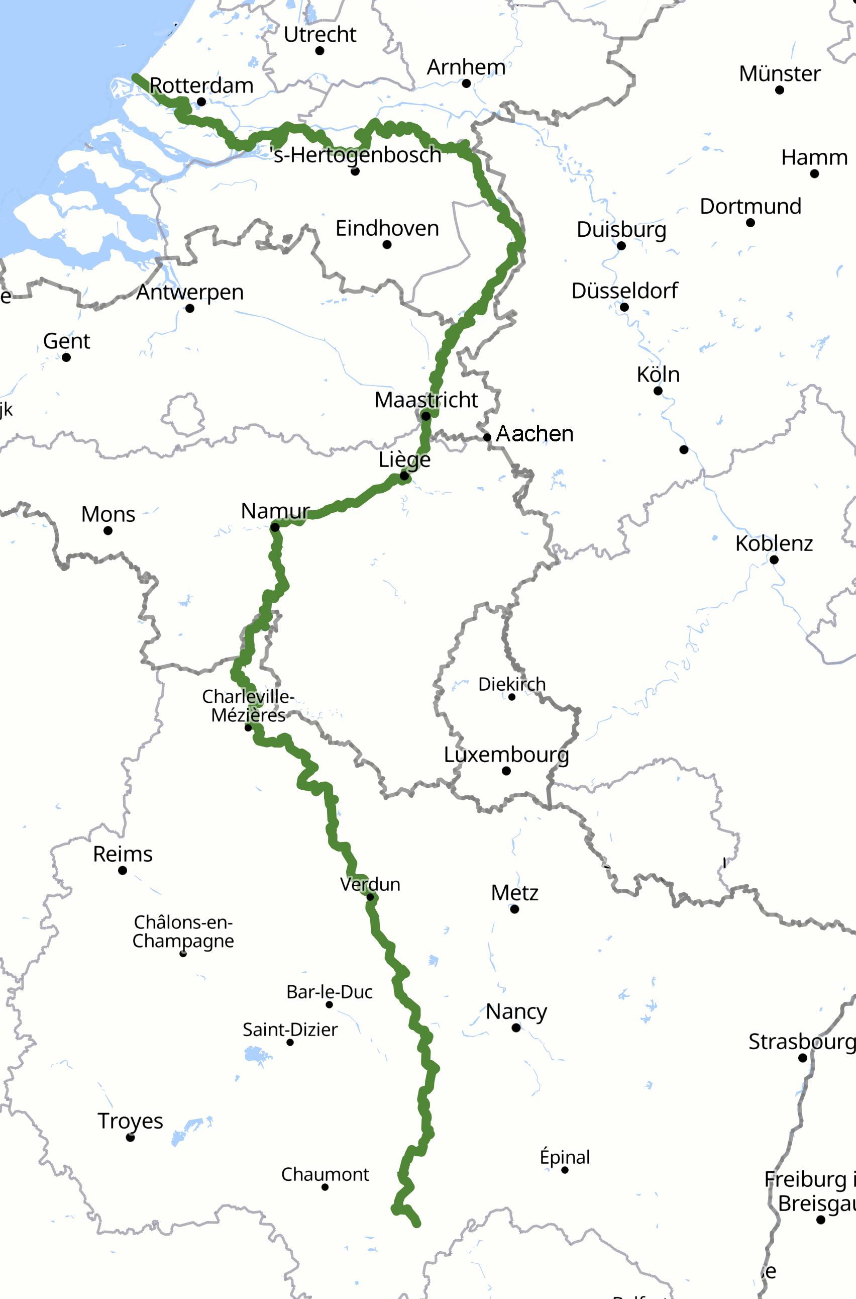 Karte Maas-Radweg